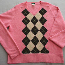 J. Crew 100% Lambswool Argyle V-neck Sweater in Pink Sz XL