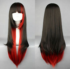 Black Mixed Red Synthetic Hair Women Lolita Long Straight Cosplay Party Full Wig