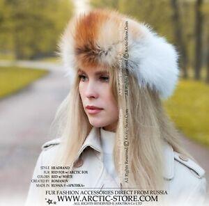 Original Designer's Ladies Fur headband headwrap in red and arctic white fox