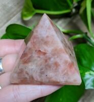 ONE (1) SUNSTONE Pyramid Healing Crystal Stone Reiki Charged *Read Below*