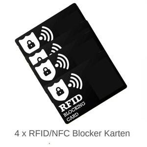 4 x RFID / NFC Shield Blocker Card - Schutz für Kredit u. EC Karten Geldbörsen