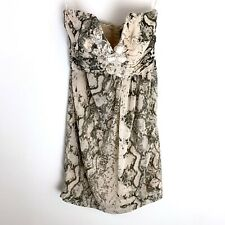 H&M Snake Print Mini Dress Size 6 Empire Waist Beaded Lace Cocktail Strapless S