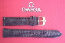 QUALITY 18MM BLACK LIZARD LEATHER WATCH BAND WATCHBAND STRAP GOLD BUCKLE 4 OMEGA