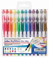 Artline Softline Gel Pen Set Assorted Colours Scrapbook Gold Silver NEON!