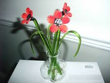 Red Poppy Flowers Beautiful Glass Gift Decorative Ornament Vase Bubble Sculpture
