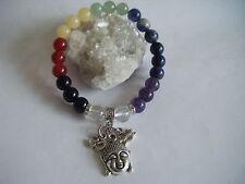 CHAKRA Gemstone Stacking Bracelet Buddha Om Lotus Spiritual Healing Unisex