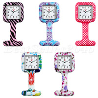 Printed Square Silicone Quartz Pin Flower Nurse Watch Brooch Tunic Fob Watch New