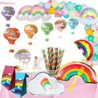 Rainbow Theme Birthday Party Supplies Tableware Latex Balloon Set Disposable New