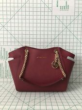Michael Kors Saffiano Jet Set Travel Large Chain Shoulder Tote Bag in Mulberry