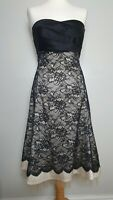 WAREHOUSE (UK Size 12) Black & Nude Lace Dress with Satin Bow at Waist  A-Line
