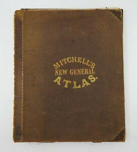 1860 Mitchell's New General Atlas Original 76 Maps Plans Texas NY USA Boston