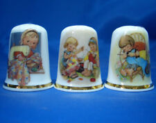 Birchcroft China Thimbles -- Set of Three -- Attwell Sewing Girls
