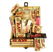 Wise Skies Medium Wooden Box - Smoking Rolling Papers Gift Set Raw Cones Tips UK