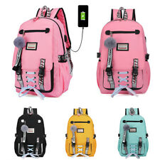 Women Canvas Girls School Bag Backpack Waterproof w/Anti Theft USB Port Bookbag