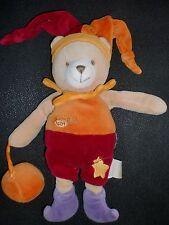 doudou peluche ours lutin arlequin orange rouge bordeaux étoile BABY NAT' 28cm