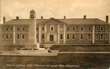 PRINTED POSTCARD OF THE WAR MEMORIAL AND NEW HOSPITAL, DARLINGTON, COUNTY DURHAM