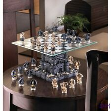 Gothic Black Dragon & Skulls Chess Set Glass Board Sits On Tower Castle