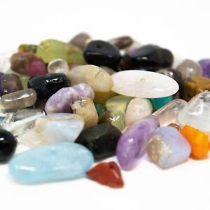 Approx 100 Assorted Gemstone Chip Nugget Beads. 4-12mm.  1mm Hole.