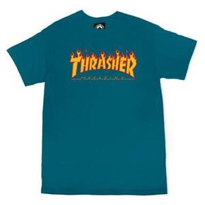 THRASHER Flame Logo T-Shirt Galapagos Blue 2021