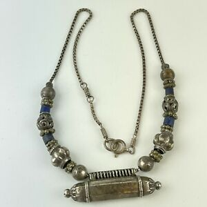 Vintage Sterling Silver Middle Eastern Style Necklace Lapis Lazuli Beads 40cm