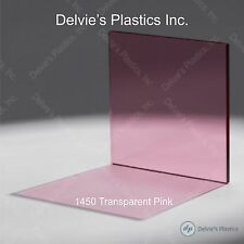 "5 Sheets 1/8""  1450 Transparent Pink Cell Cast Acrylic Plexiglass  12"" x 24"""