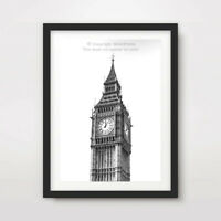 BLACK AND WHITE B&W BIG BEN LONDON ART PRINT Poster City Home Decor Wall Picture