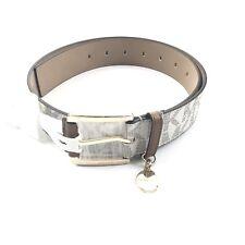 Michael Kors Women MK Signature Monogram Belt Sz Small Vanilla Luggage Brown