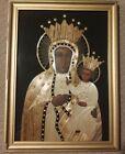 Vintage Polish Straw Art Picture / Frame Best Handmade Art / Black Madonna