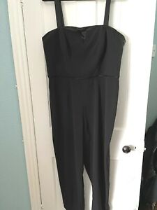 Monsoon black tuxedo jumpsuit satin trim size 18 new with tags
