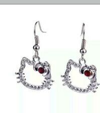 Hello Kitty Silver Plated with Red stone in bow Dangle Earrings