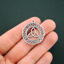 4 Celtic Knot Pendant Charms Antique Silver Tone Triquetra Trinity  - SC5633