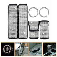 6x/Set Crystal Diamond Bling Car Seat Belt +Handbrake +Shift Gear Knob Cover Kit