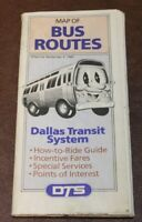 Dallas Texas DTS Transit Bus System Route Map 1990 Brochure Guide
