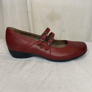 Dansko Fynn Red Leather Mary Jane Shoes Burnished Nubuck Womens Sz EUR 39 US 8.5