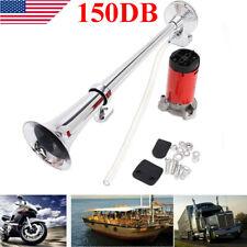 150db 12V Super Loud Air Horn Compressor Single Trumpet Truck Train Boat