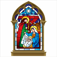 Stained Glass Nativity Scene Window Cling
