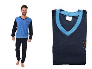 Herren Frottee Pyjama V-Hals Langarm Uni Oberteil mit Logo Bündchen 61693