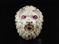 2.25Ct Round Cut Diamond 3D Lion Face Pinky Mens Ring14K Yellow Gold Finish
