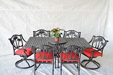 Palm Tree Outdoor Patio 8 pcs Dining Set Cast Aluminum Dark Bronze