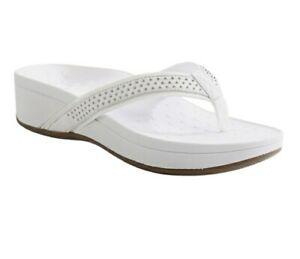Vionic Womens Pacific Kehoe Thong Sandal White Platform Heel Slip On 10 W New