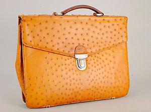 Ψψ POWERFUL Ostrich Skin briefcase with Zilli pendant in Vicuna   exotic money