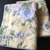 Thomasville Pair Pillow Shams Floral Yellow Blue Standard Cord Trim