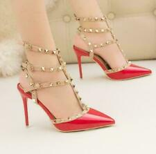 Women Pointed Toe Studded Buckle Strap Strappy High Heel Gladiator Sandals Shoes