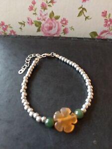 Natural Orange Agate flower green jade & silver glass beaded bracelet ~ boho