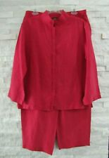 Eileen Fisher Red Linen Silk Stand Collar Shirt Jacket Cropped Pants Set Suit M