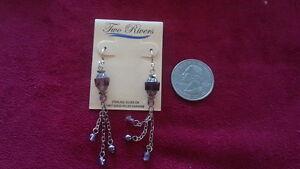 Beautiful Sterling Silver 925 New Purple Crystals Long Danglings Earrings *B384