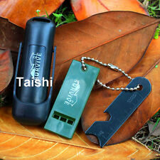 TOP  FLINT ONE HAND FERROCERIUM FIRE STARTER MAGNESIUM TOOL SURVIVAL WHISTLE