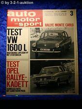 AMS Auto Motor Sport 3/67 VW 1600 Opel Rallye Kadett Chevy Camaro SS