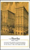 NEW YORK USA Hotel BARCLAYS Vintage Postcard 50/60er J.