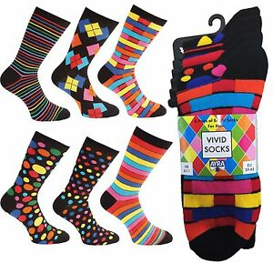 Ayra: 6 Pairs of Mens VIVID Odd Stripes and Spots Socks, Size 6-11, EU 39-45